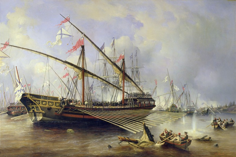 BAL364926 The Battle of Grengham on 27th July 1720 (oil on canvas) by Perrot, Ferdinand Victor (1808-41); State Central Navy Museum, St. Petersburg; (add.info.: The battle of Grengham took place in the Aland Islands in the Ledsund strait; It was the last major naval battle in the Great Northern War (1700-1721) in which a coaltion including Russia, Lithuania and Denmark-Norway, successfully contested Swedish supremacy in northern Central and Eastern Europe; It is known in Sweden as the battle of Ledsund;); French,  out of copyright